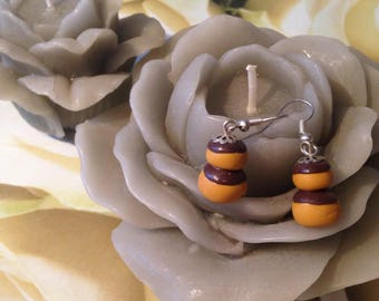 """Polymer clay """"chocolate religious"""" earrings"""