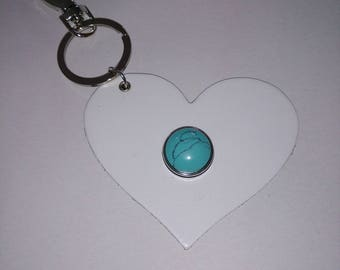 Keychain heart White leather and turquoise snap