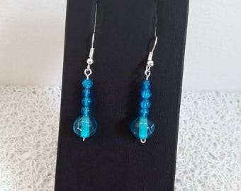Earrings beads blue