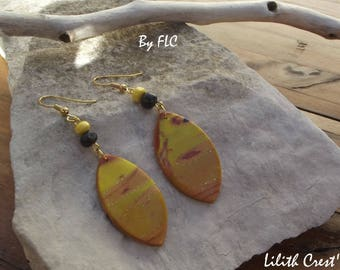Earrings in polymer clay - yellow and gold (170816-F)