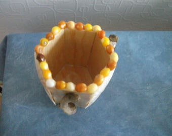 Handmade octagonal pencil holder wooden with shells and Driftwood