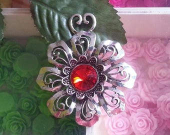 1 large pendant with Rhinestones, Light Siam, 64x56x7.5 mm, hole: 5 x 11 mm