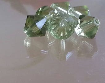 10 glass beads, faceted, Bicone, smoky green, 8 mm, hole: 1