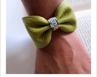 lime green leather knot bracelet lace