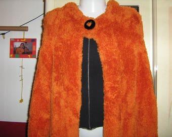 Standing collar, plush yarn, hand knitted jacket