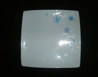"""Snowflake"" pattern hand painted square dessert plate blue and silver"
