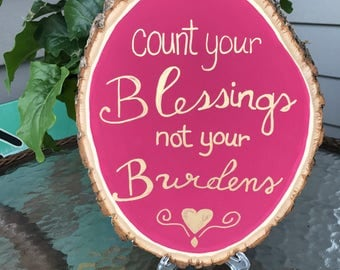 Count Your Blessings Wood Round