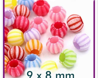Set of 20 beads 8 mm x 9mm acrylic color described