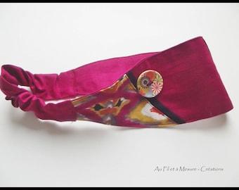"""""""Ethnic"""", Fuchsia cotton headband"""