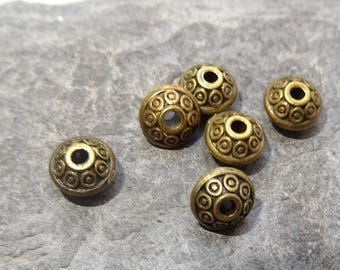 6 beads metal bronze antique spinning top, 7 mm wide