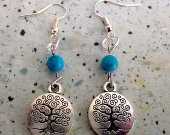 tree of life reconstituted turquoise earrings
