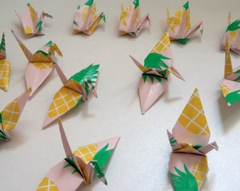 Set of origami cranes: pineapple Collection
