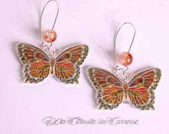 Brown and multicolor butterfly earrings