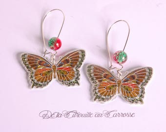 Brown and Red butterfly earrings