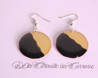 Dangle earrings, gold and black, coral