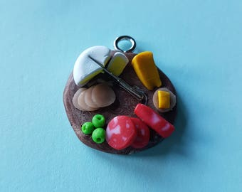 Polymer clay Cheese platter necklace pendant