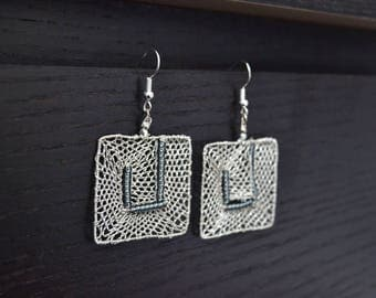 Square lace earrings