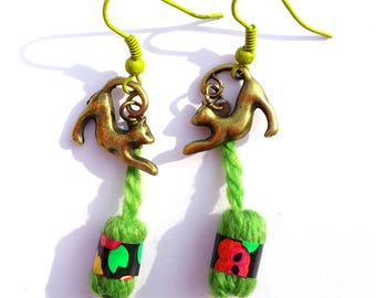 "Earrings ""Green Yarn"" - cats playing with balls of yarn"