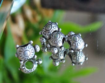Turtle made of Tibetan silver spacer beads
