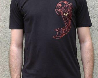 Black T-shirt 100% cotton screen printed Koï carp