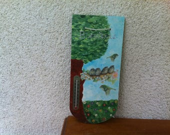 Tile wood sign with welcome and thermometer