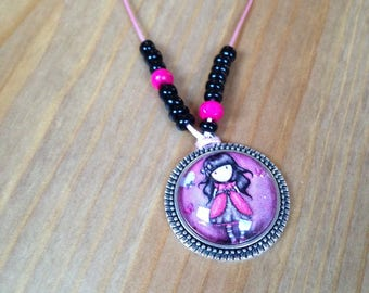 Necklace short cabochon dolly shades pink and black