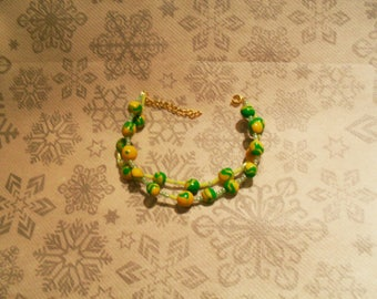 double strand green and yellow bracelet