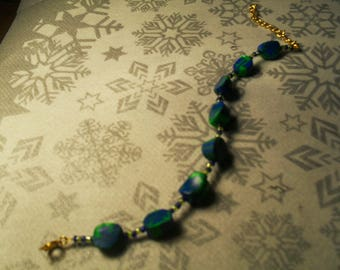 beautiful unique, stylish and original bracelet green and blue