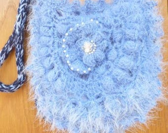 Free-form bag crocheted, monochromatic blue to wear over the shoulder