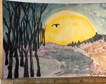 Owl Flies For The Moon OOAK painting