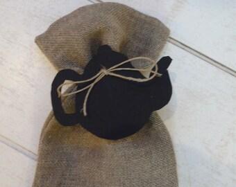 Black teapot label linen bag
