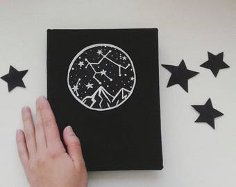 Black Notebook with Stars, Stars and Constellations, Notebook with Constellations, Sketchbook with Black Pages, Galaxy cover Notebook