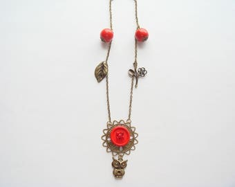Bronze Pearl pendant necklace Red