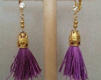 Golden purple tassel earrings