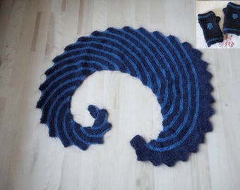 Scarf shawl blue woolen heater shoulder woman dragon's tail