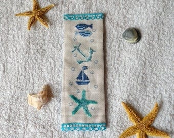 cross-stitched sea theme bookmark