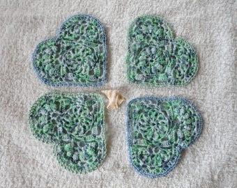 2 saucer, coaster, mug, placemat, sparkly crochet cotton heart shaped rug