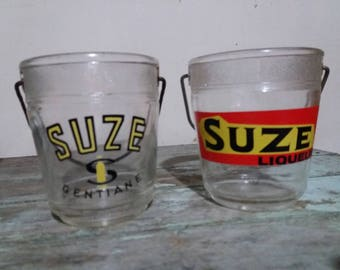2 Vintage French SUZE Glass Ice Buckets, Ice Holder, French Bar ware, Vintage Bar ware, Ice Cube, Liqueur, Gentiane