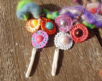 """Flowers"" beaded earrings"