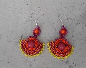 """Earrings woven """"Baker"""" Purple beads"""