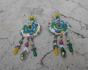 "Embroidered ""spring softness"" beaded earrings"