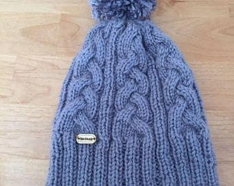 Hat with Pompom grey soft and warm