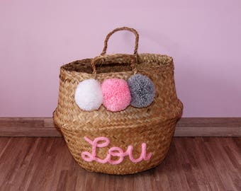 Customizable Thai Mr. basket ball medium basket with tassels and knitting