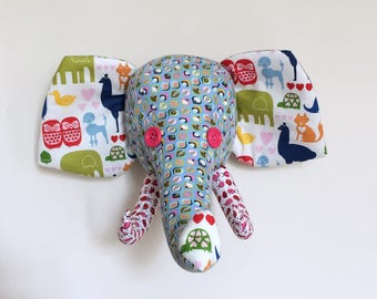 Blue, pink and green elephant trophy