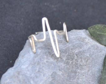 Adjustable ring Silver 925/1000 collection cardiogram modern...