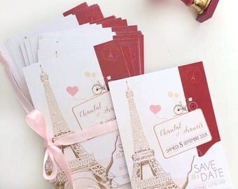 Save the date wedding Paris theme