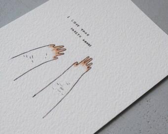 cheeto hands card 11x15 cm
