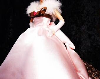Light pink satin flower spring dress【Danzabito】