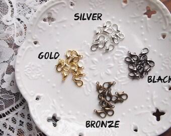 50pcs Lobster Clasps, 12x5mm, Silver, Gold, Bronze, Gunmetal Black