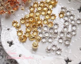 20/50pcs Brass Flower Petal Bead Caps// 8 Petals// Gold, Silver Plated
